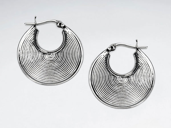 Oxidized Brushed Silver Open Disc Drop Earrings