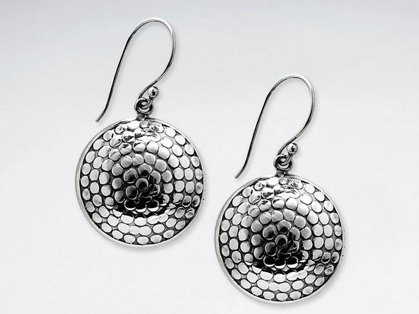 Oxidized Dimpled Textured Circle Disc Drop Earrings