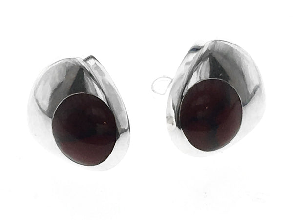 Carnelian Dot .925 Sterling Silver Studs - Essentially Silver Jewelry