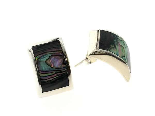 Paua Curved Sterling Silver Earrings