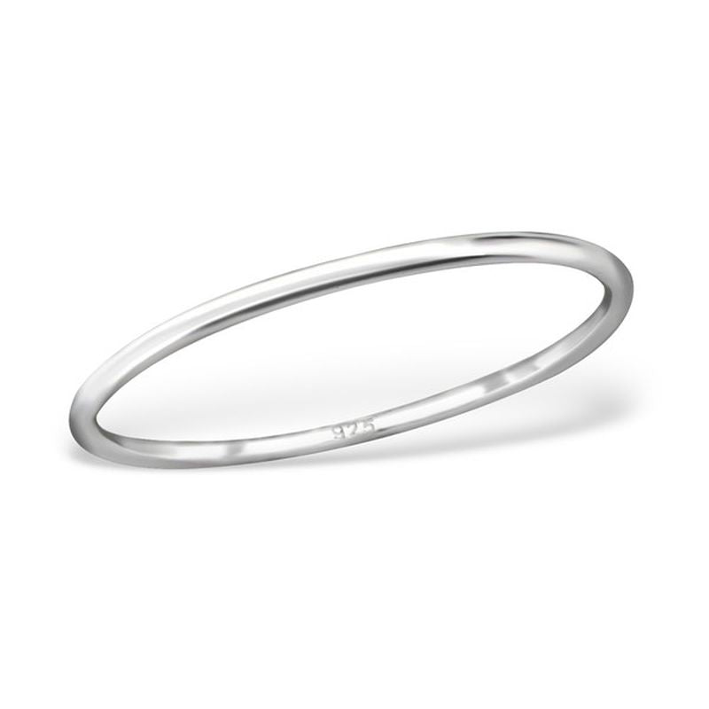 Plain Half wire 1mm Sterling Silver Band