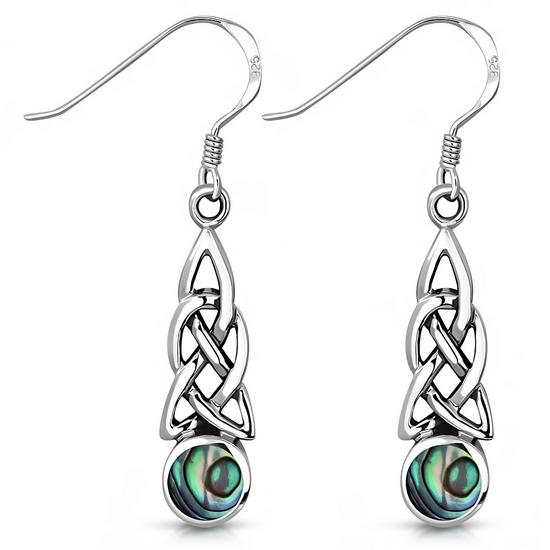 Paua Celtic Sterling Silver Trinity Knot Earrings