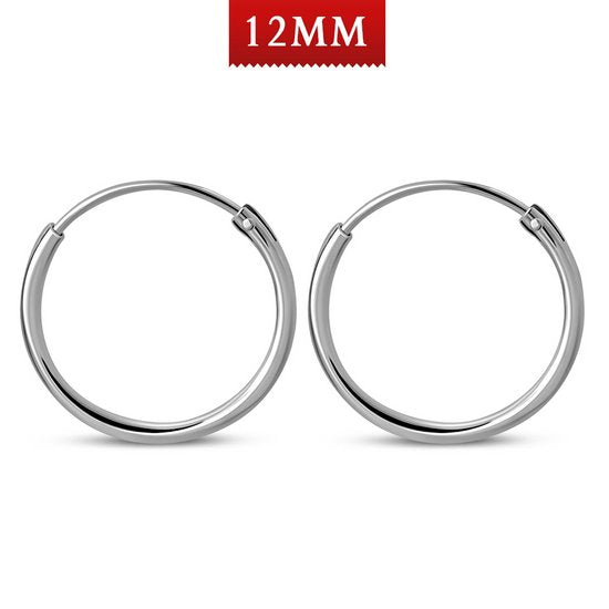 Hoop 1.2mm/12mm Plain Round Sterling Silver Earrings