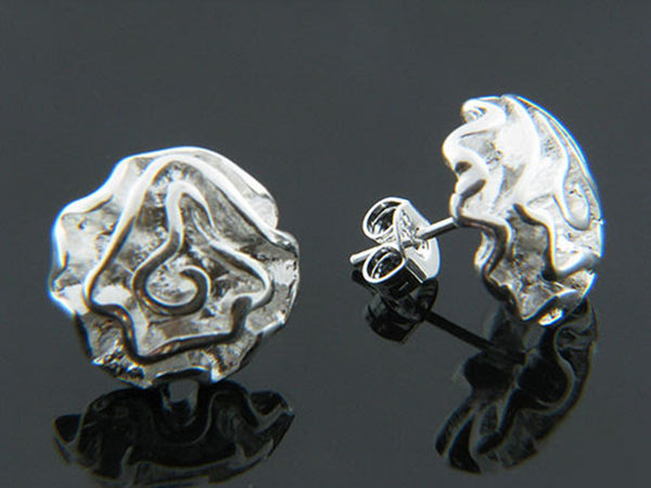 Rosebud Silver Plated on Copper Earrings - Essentially Silver Jewelry