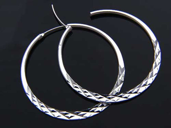 Hoop Large Diamond Cut .925 Sterling Silver Earrings - Essentially Silver Jewelry
