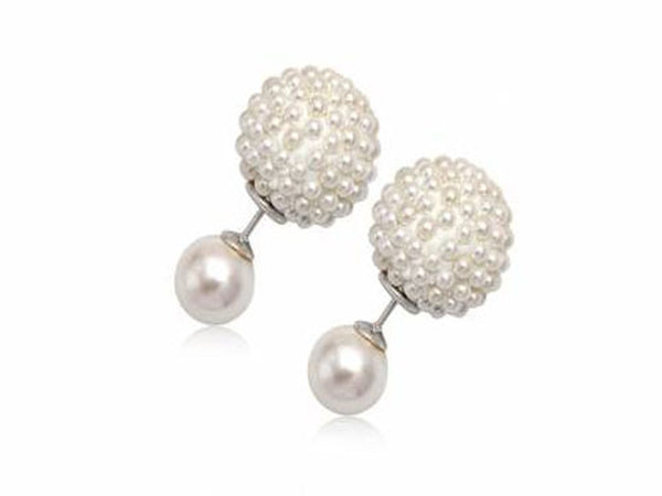 Pearl Double Synthetic Sterling Silver Stud
