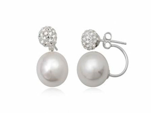 Pearl/Crystal Synthetic .925 Sterling Silver Studs - Essentially Silver Jewelry