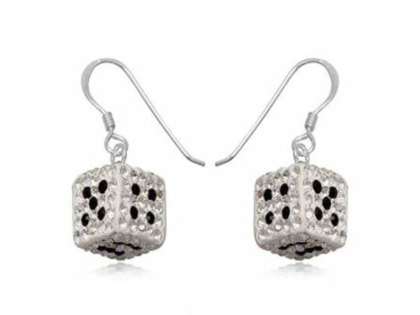 Crystal Dice Sterling Silver Earrings - Essentially Silver Jewelry