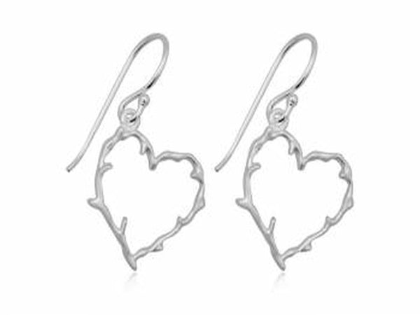Heart Branch Sterling Silver Earrings