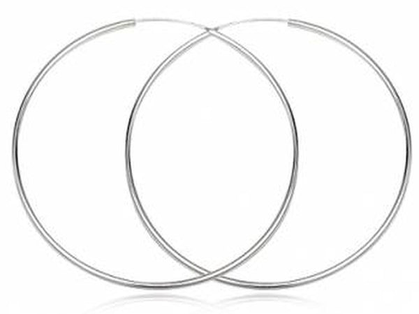 Hoop 2mm/80mm Plain Round Sterling Silver Earrings