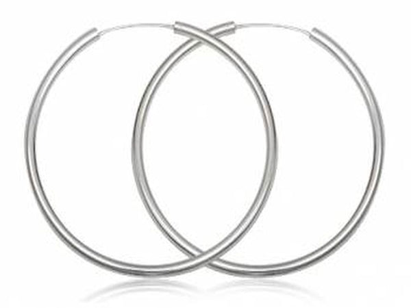 Hoop 3mm/70mm Plain Round Sterling Silver Earring