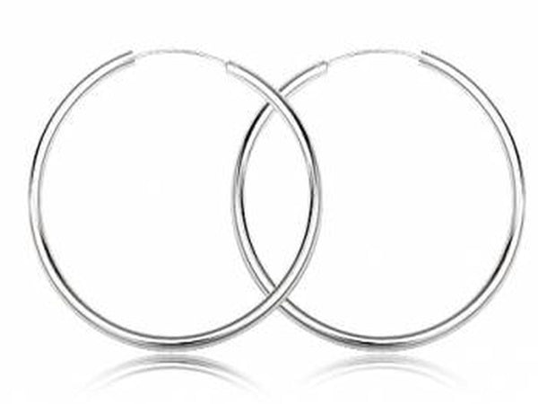 Hoop 3mm/60mm Plain Round Sterling Silver Earrings