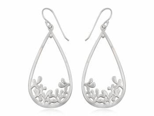 Teardrop Leaf Sterling Silver Drop Earring