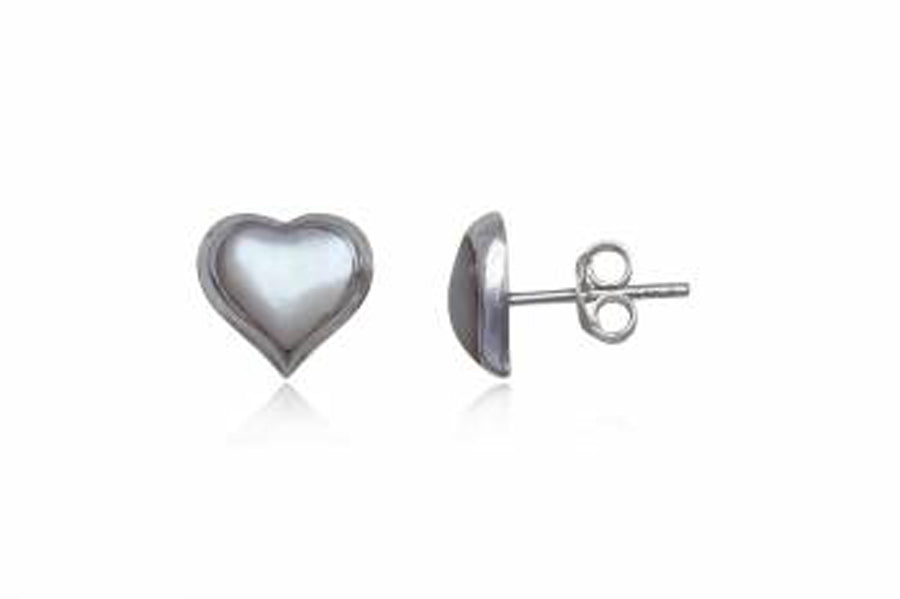 Mother of Pearl Heart Sterling Silver Earrings