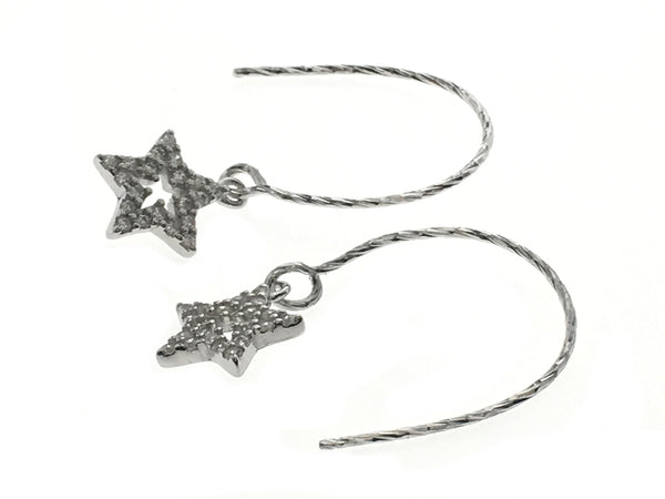 Star Cubic Zirconia Sterling Silver Earrings