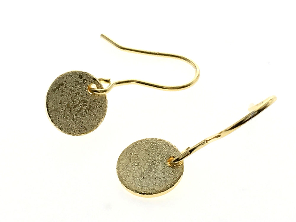 Round Textured Gold Plated Sterling Silver Earrings