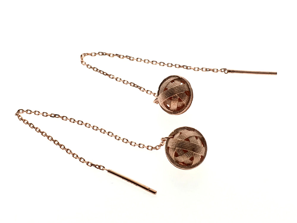 Rose Gold Plated Ball Design Sterling Silver Earrings