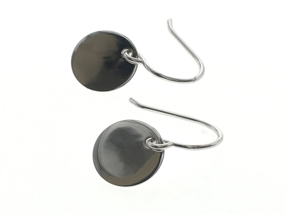 Round Sterling Silver Disc Earrings