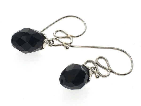 Onyx Squiggle .925 Sterling Silver Drop Earring - Essentially Silver Jewelry