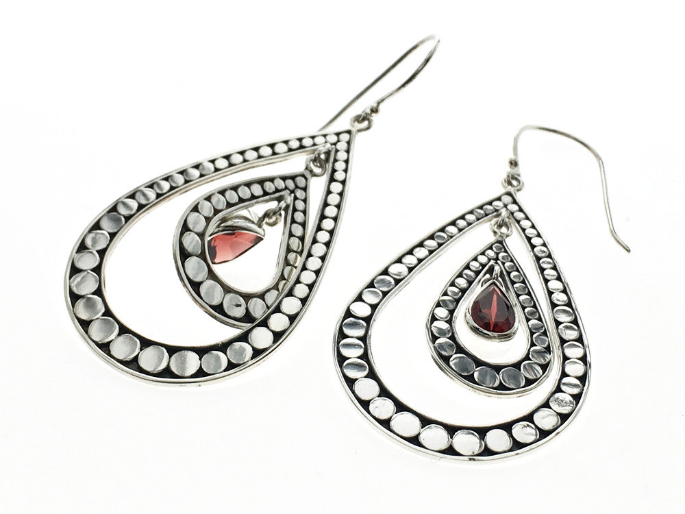Garnet Layered Silver Dotted Sterling Silver Earring - Essentially Silver Jewelry
