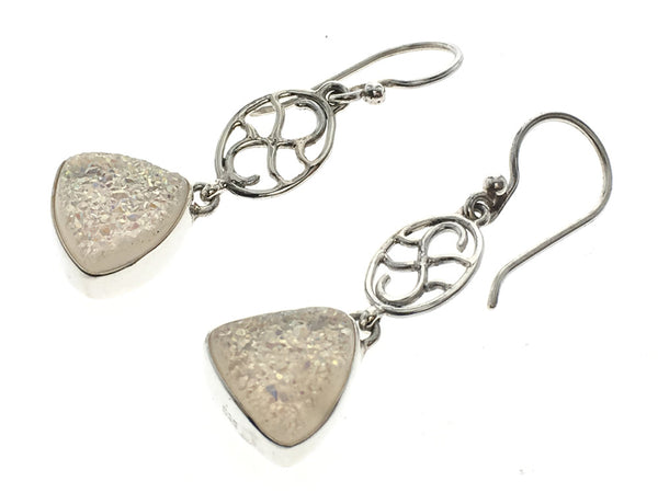 Druzy Sterling Silver .925 Drop Earrings - Essentially Silver Jewelry