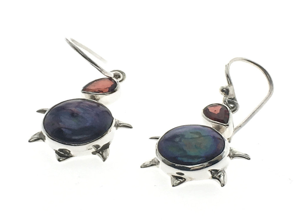 Garnet & Grey Biwa .925 Sterling Silver Earring - Essentially Silver Jewelry