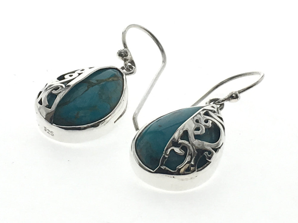 Turquoise Half  Sterling Silver Lattice Earring