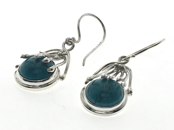 Turquoise Eyelash Sterling Silver Earrings - Essentially Silver Jewelry