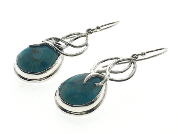 Turquoise Leaf Framed Sterling Silver Earrings