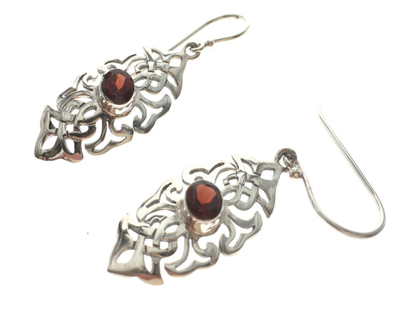 Garnet Laced Sterling Silver Earring