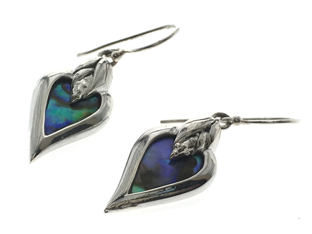Paua Heart Framed Sterling Silver Earrings