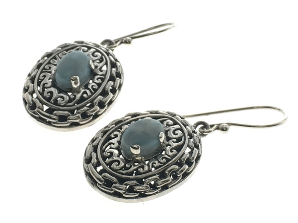 Larimar Stone .925 Sterling Silver Earrings