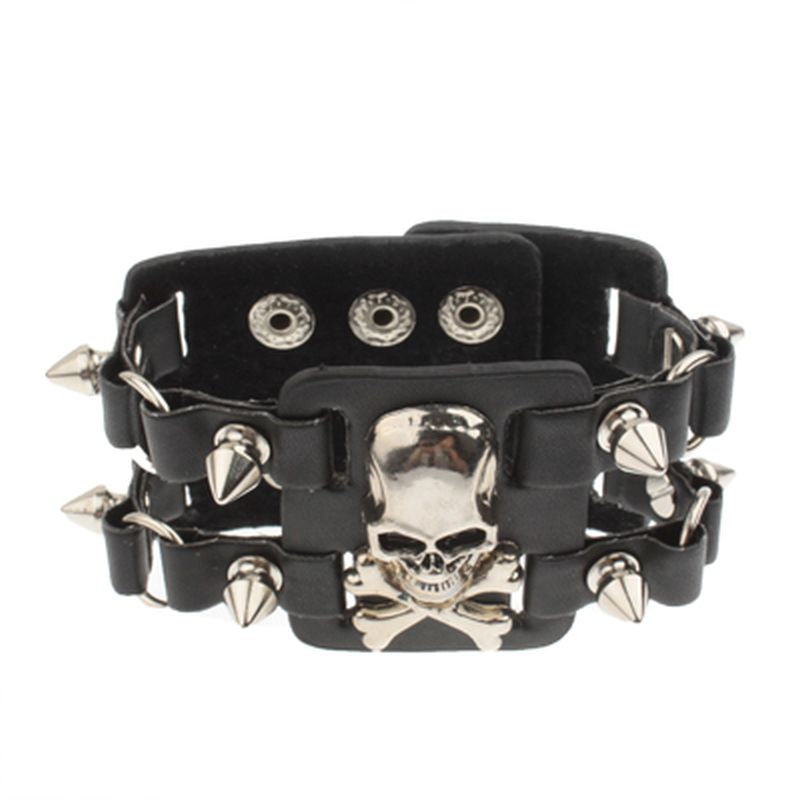 Leather skull rivet wide bracelet wristband
