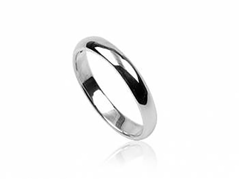 Half wire plain 4mm sterling silver ring