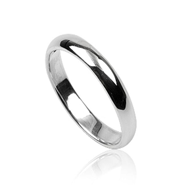 Plain Half Moon 4mm Sterling Silver Band