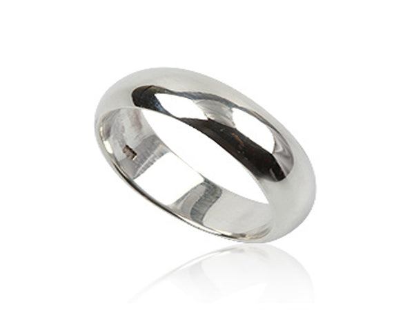 Plain Half Moon 6mm Sterling Silver Band - Essentially Silver Jewelry