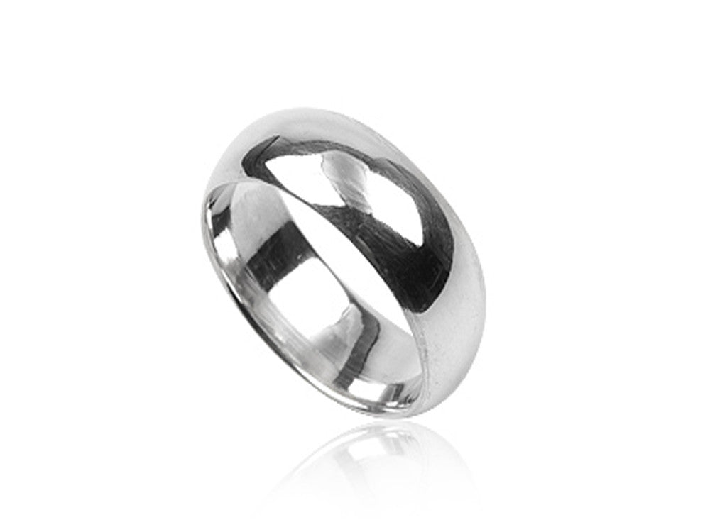 Plain 8mm Half Moon Sterling Silver Band - Essentially Silver Jewelry