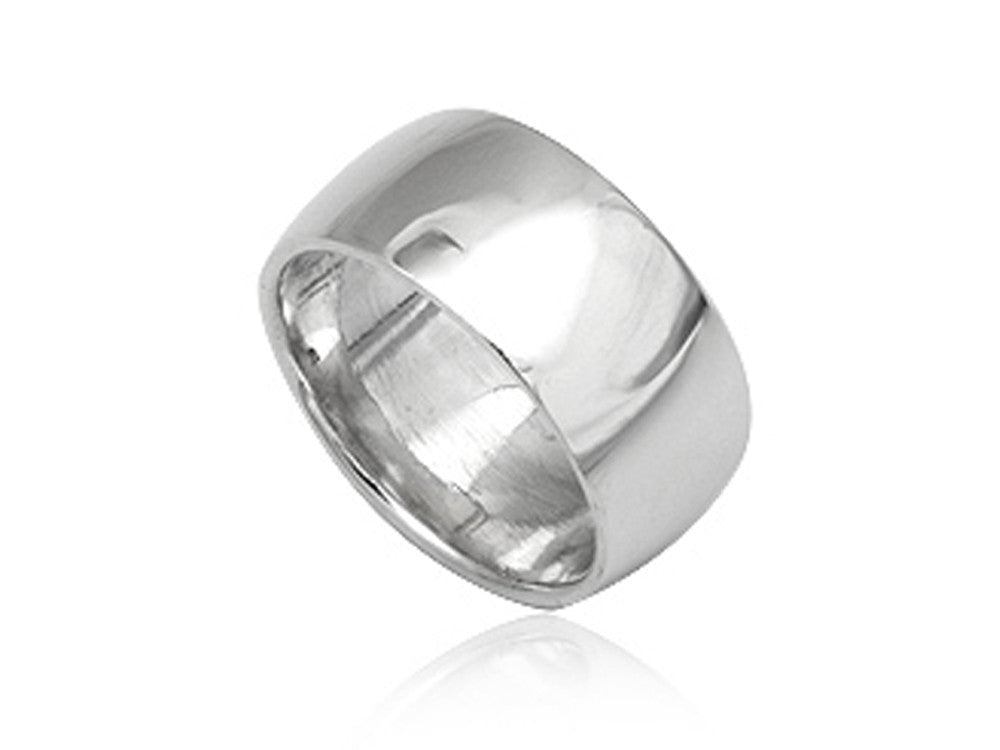 Plain Half Moon 10mm Sterling Silver Band - Essentially Silver Jewelry