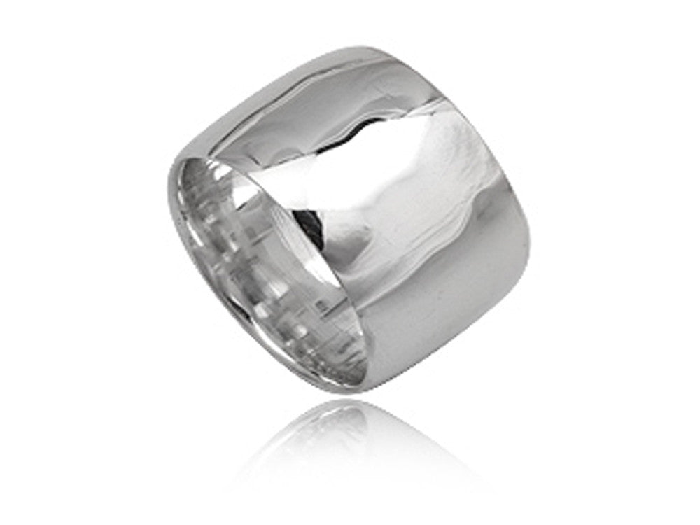 Plain 12mm Half Moon Sterling Silver Band