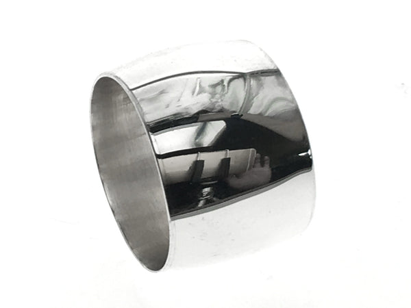 Plain Half Moon 15mm Sterling Silver Band - Essentially Silver Jewelry