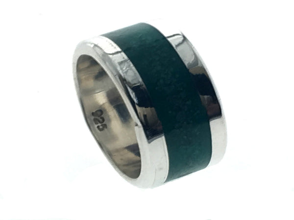 Oxi Malachite 10mm Center .925 Sterling Silver Band - Essentially Silver Jewelry