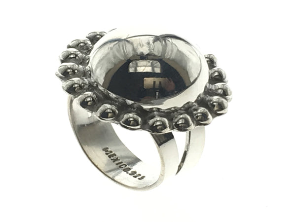 Mirror Framed Ball Sterling Silver Ring - Essentially Silver Jewelry
