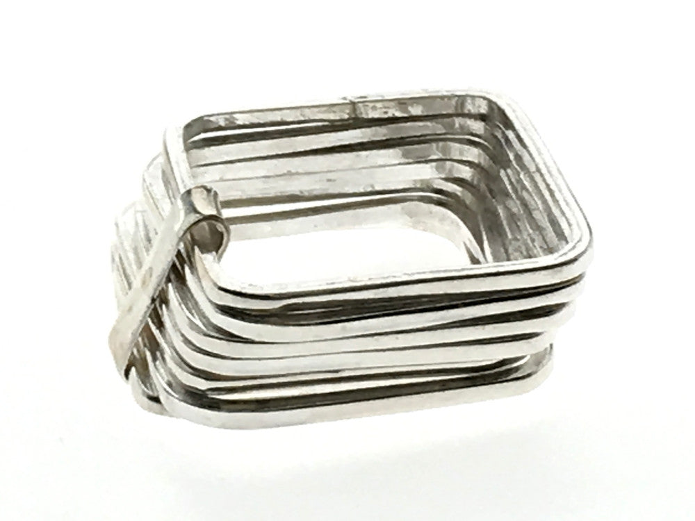 Square 7 Stacked .925 Sterling silver Ring - Essentially Silver Jewelry
