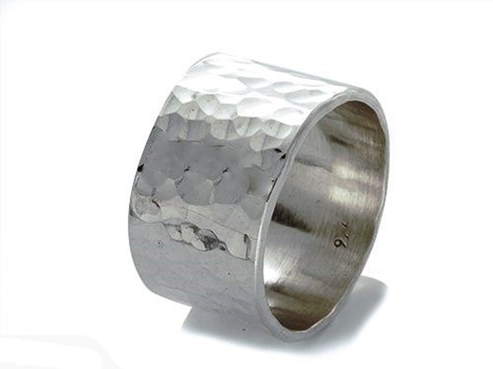 Beaten 13mm Sterling Silver Band - Essentially Silver Jewelry
