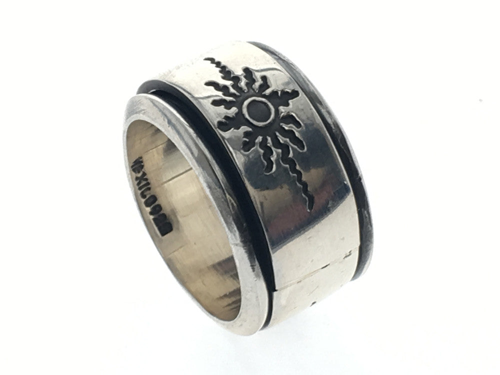 Sun design .925 sterling silver spinning ring - Essentially Silver Jewelry