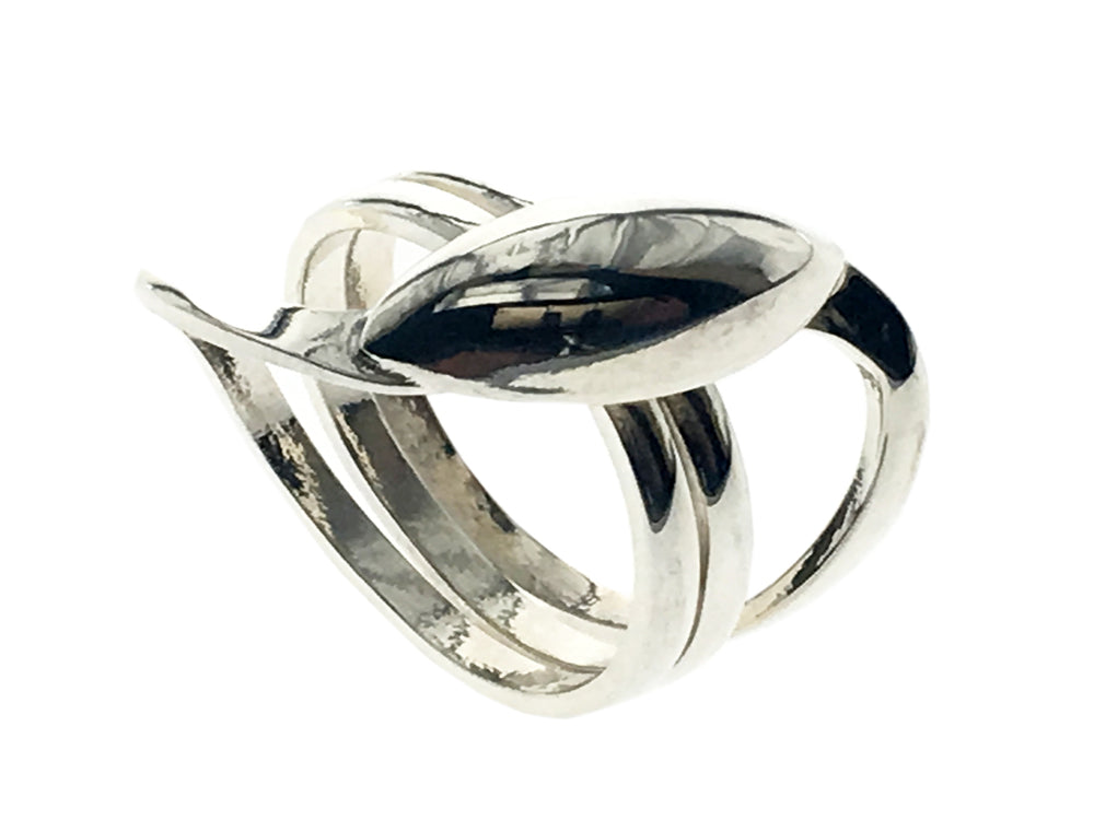 Three wire Centered Petal .925 Sterling Silver Ring - Essentially Silver Jewelry