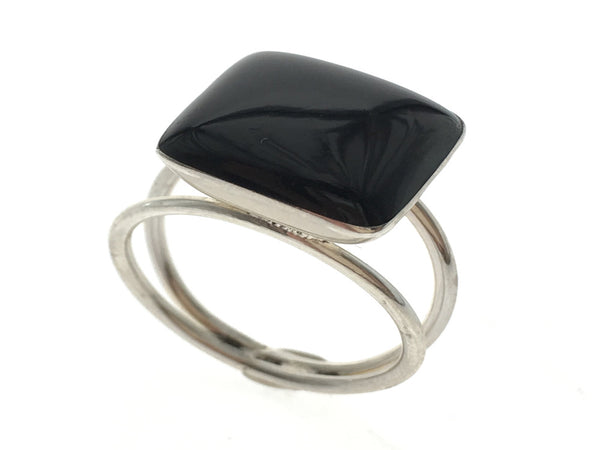 Onyx Square .925 Sterling Silver Ring - Essentially Silver Jewelry