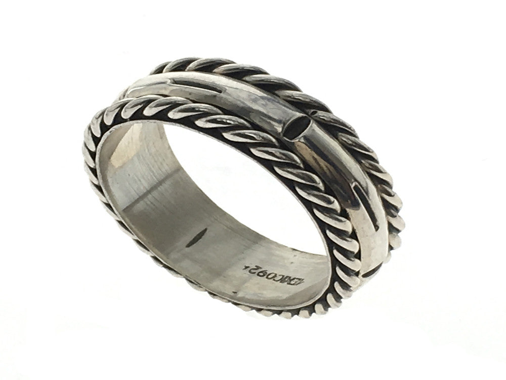Oxidised Gilt Edge .925 Sterling Silver Band - Essentially Silver Jewelry