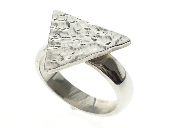 Hammered Triangle Sterling Silver Ring