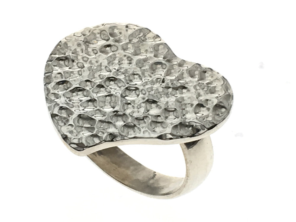 Hammered Heart Sterling Silver Ring